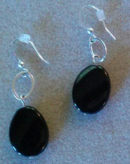 Classic Black Agate Drop Silver Earrings