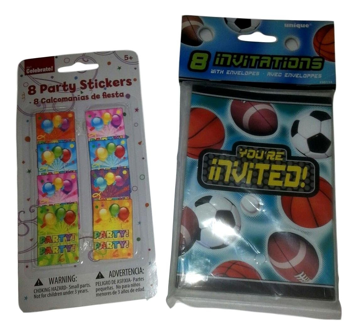Unique Celebrate 8 Sport Invitations and Celebrate 8 Party Stickers NEW (Mixed Lot)