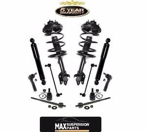 Front Strut Coil Spring Assembly & Rear Shocks & Steering Suspension Set