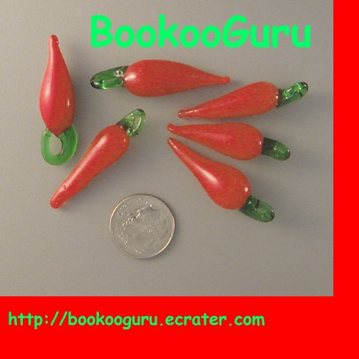 Red Hot Chili Pepper Beads - Blown Glass - Rare - Peppers, BooKooGuru