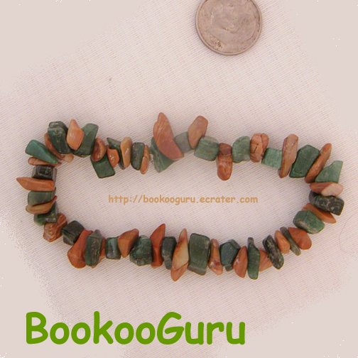 Gemstone Chip Bracelet, Jade & Brownstone, Artisan, OOAK, Handcrafted, BooKooGuru