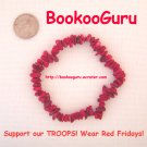 Support our Troops, Wear RED Fridays, Coral Bracelet, Genuine Gemstone, OOAK Original, BooKooGuru