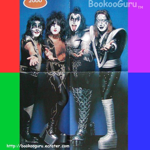 KISS  4-page foldout, Poster, Pin-up, Double sided, Gene, Ace, Paul Stanley, Peter, BooKooGuru