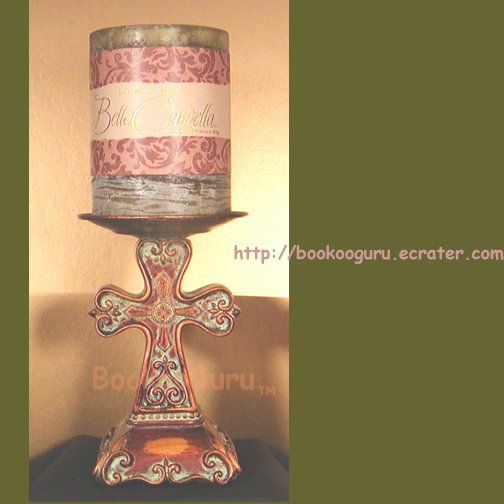 Bella Candella Carved Cross, Candle Stand with Scented Candle, Darsee & David's, BooKooGuru