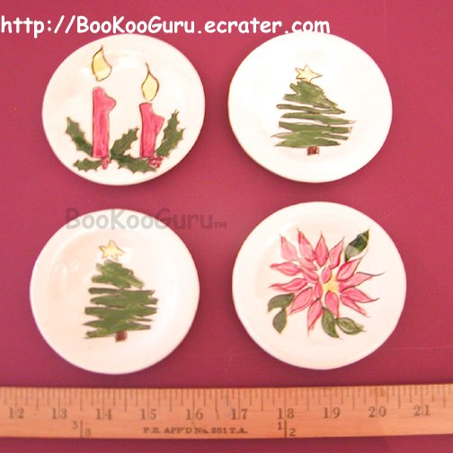Tiny Decorative Plates, Set of 4, Hand-painted Ceramic, Christmas Theme, Holiday, BooKooGuru
