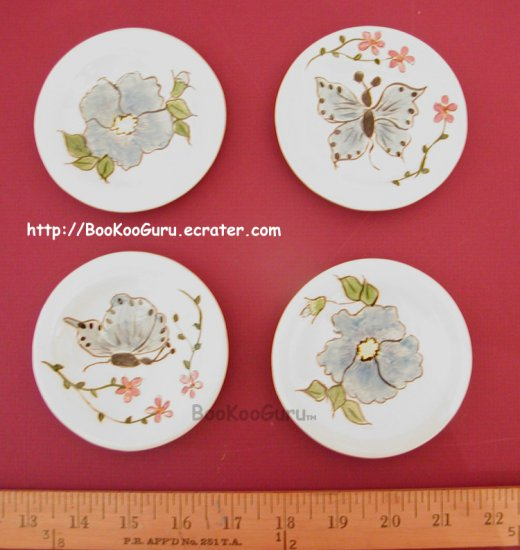 Tiny Decorative Plates, Set of 4, Hand-painted Ceramic, Floral Theme, Flower Design, BooKooGuru