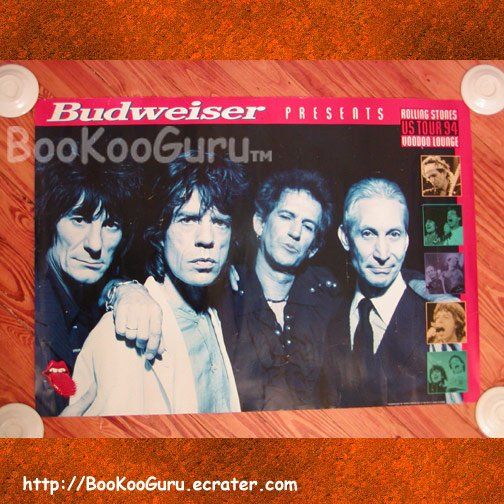 Rolling Stones Poster, Voodoo Lounge Tour, Promo Poster, Budweiser, Mick Jagger, BooKooGuru