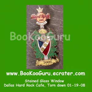 Hard Rock Cafe Dallas Texas, Stained Glass Pin #1, Torn Down, Rare, Limited Edition 300 ! BooKooGuru