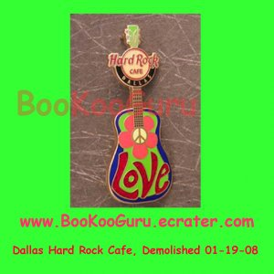 Hard Rock Cafe Dallas Texas - Peace Love Guitar Pin - Limited Edition 500 ! BooKooGuru