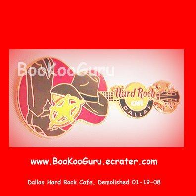 Hard Rock Cafe Dallas Texas, Red Cowboy Guitar Pin, Closed and Demolished, Rare! BooKooGuru