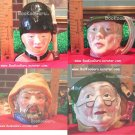Staffordshire Character Mugs Jugs, Set of 4, Shoemaker,Fisherman,Sam Weller,Gaurdsman, BooKooGuru