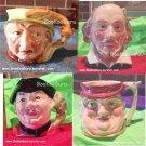 Staffordshire Character Mugs Jugs, Set of 4, Shakespeare,Tony Weller,Game Keeper,Chelsea, BooKooGuru