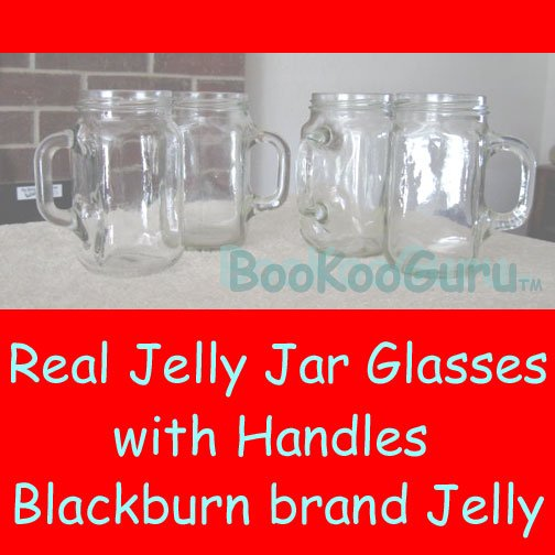 Set of Four (4) Jelly Jar Glasses, Blackburn's Brand, with Handles, Perfect, Pint, BooKooGuru