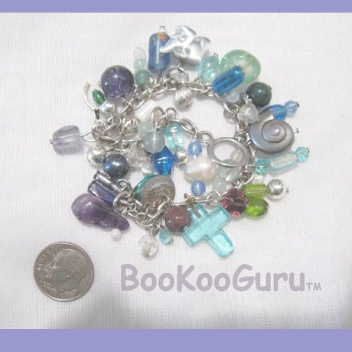 Blue Cha-Cha Bracelet, Original OOAK, Artisan crafted, New, Charm Bracelet, BooKooGuru