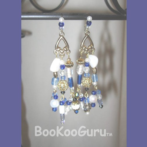 Luxurious Blue Dangle Earrings, Delightful Blue Dangle, Vintage Flower Beads, Vintage Blue Crystals