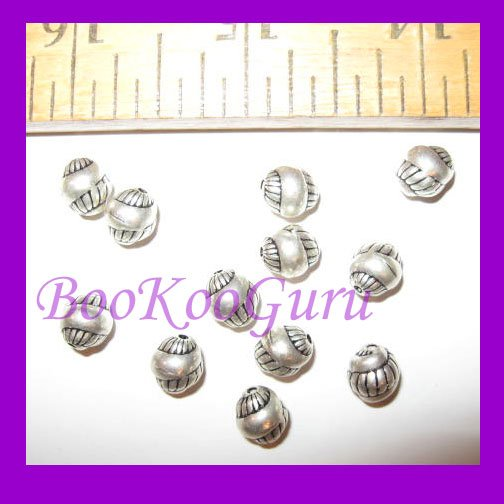 Dozen Round Shell Beads, Silver Tone, 6mm, Rare & Vintage, Make Jewelry