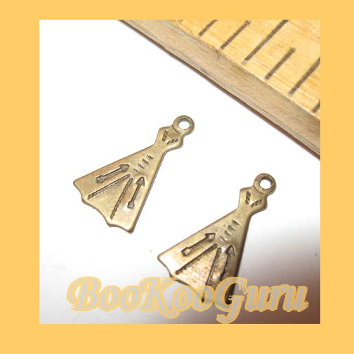 Pair of TeePee Charms, Antique Gold, Vintage, Rare, Make Jewelry, BooKooGuru
