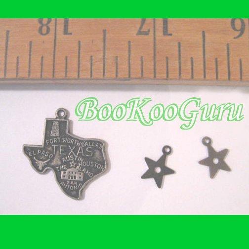 Texas State Charm, Tiny Stars Charms, All Three, Antique Silver, Make Jewelry, BooKooGuru