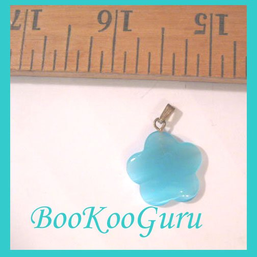 Flower Charm, Fiber Optic Glass, Turquoise Color, Flower Pendant, Make Jewelry