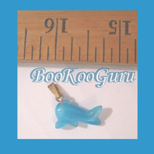 Blue Dolphin Fiber Optic Glass Charm or Pendant, Great Details, Make Jewelry, BooKooGuru