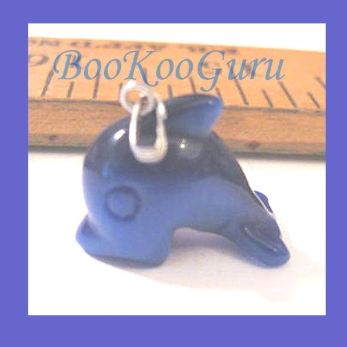 Sea Blue Whale Fiber Optic Charm or Pendant, Great Light Reflection, Make Jewelry, BooKooGuru