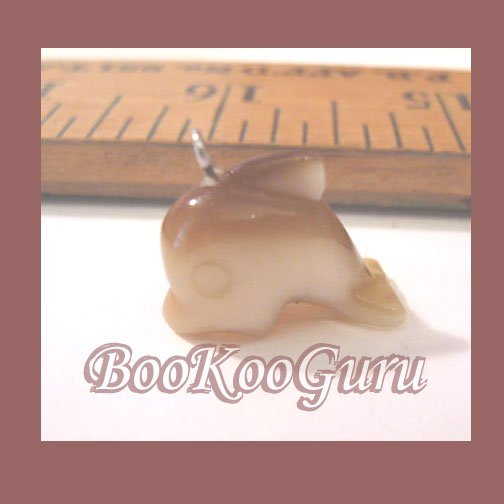 Gold Dophin Charm or Pendant, Fiber Optic Glass, Great Detail, Make Jewelry, BooKooGuru