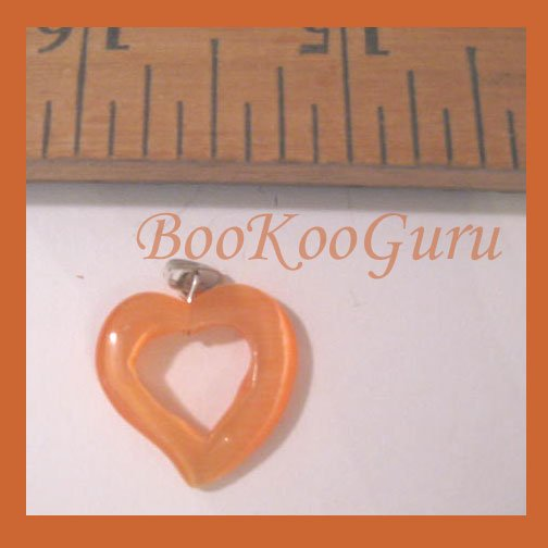 Bright Orange Open Heart, Fiber Optic Glass, Beautiful Reflective Surface, Make Jewelry, BooKooGuru