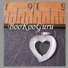 Open Heart Charm or Pendant, Fiber Optic Glass, Cat's Eye Glass, Make Jewelry, BooKooGuru