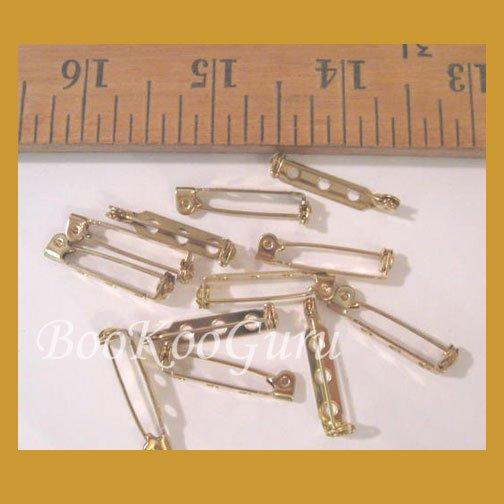 Dozen (12) Pin Backs, Gold Tone, Glue On, Vintage, Make Jewelry, BooKooGuru