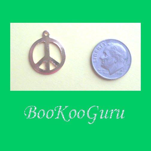 Charm, Peace Sign Charm, Gold Tone, Pendant, Make Earrings, Simple Design, Peace Sign, BooKooGuru