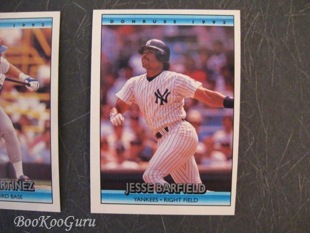 Donruss, 1992, Baseball Cards,Jesse Barfield, Edgar Martinez, Charlie Leibrandt, Set of 3, Near Mint