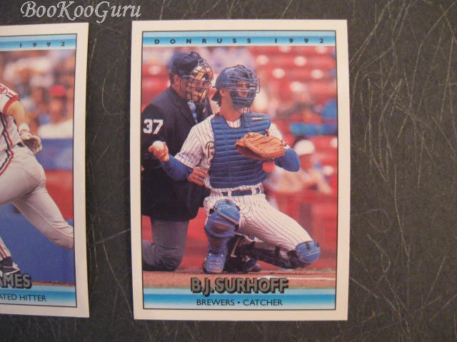 Donruss, 1992, Baseball Trading Cards, B.J. Surhoff, Chris James, Ken Hill, Set of 3, Near Mint