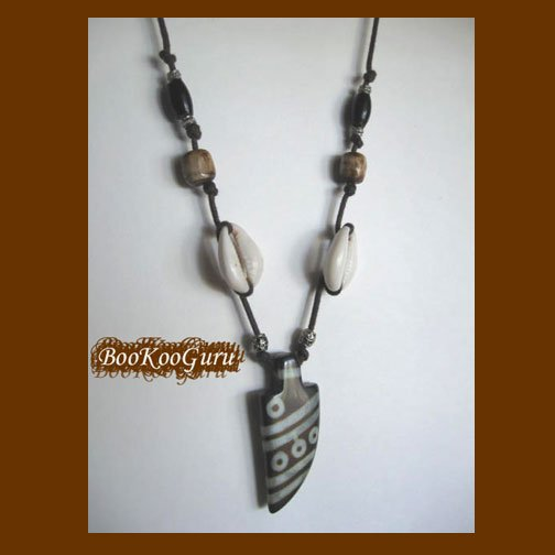 Arrowhead Pendant, Beaded on Leather, African Trade Beads, Goth