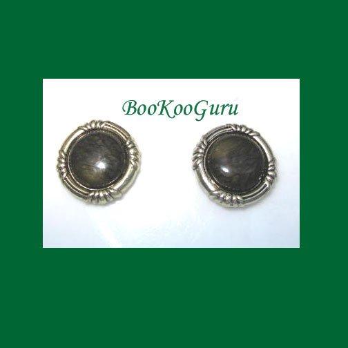 Set of 2 Vintage Button Covers, Green Tigereye Stone, Goldtone, Near mint