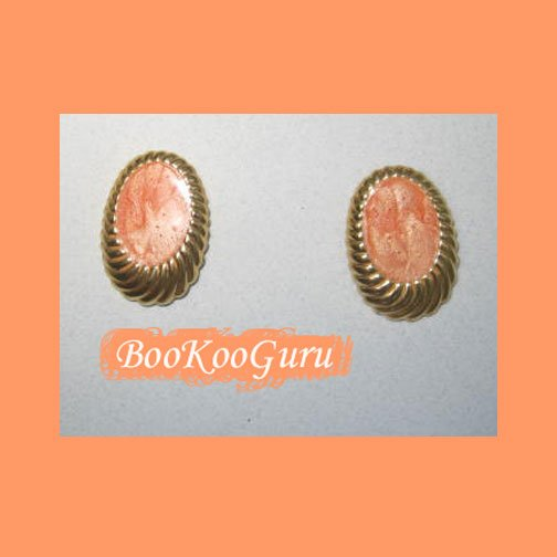 Coral Swirl Earrings, Post Style, Goldtone, Rare, Vintage, Estate