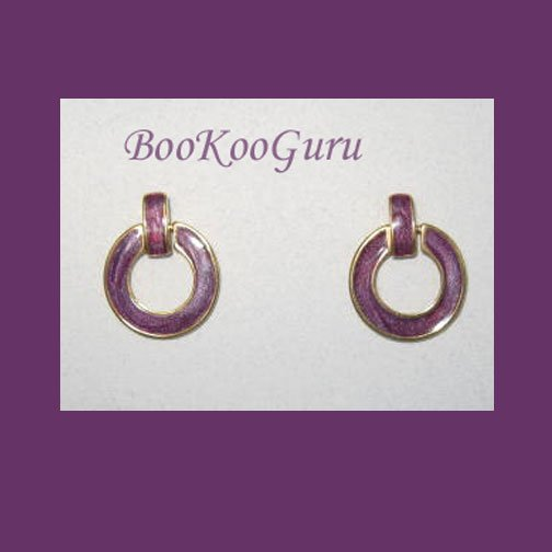 Purple Enamel Hoop Earrings, Vintage, Classic Style, Goldtone, BooKooGuru