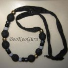 Black Fabric and Beads Necklace, Handmade, Teacher-approved, BooKooGuru, Vintage Jewelry