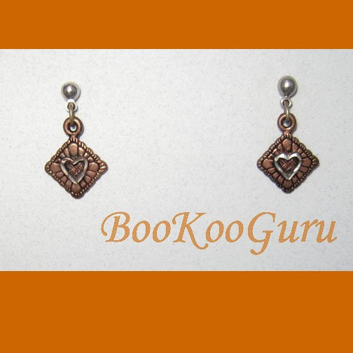 Limited Edition Copper, Silver Earrings, Diamond Shaped, Heart Center Cut-out, Vintage Jewelry