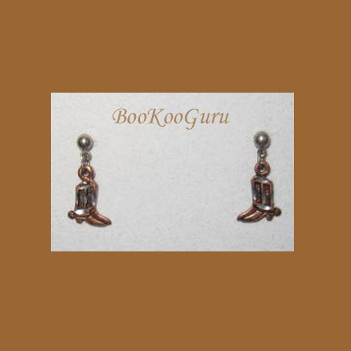 Cowboy Boots Earrings, Copper Colored, Limited Edition, Vintage Jewelry