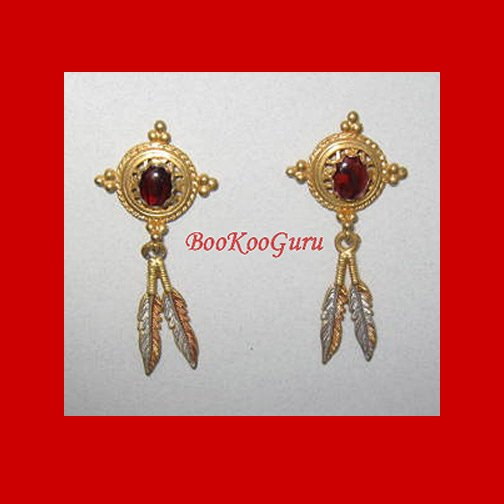 Goldtone Earrings, Red Stones, Feather Dangles, Rare, Vintage Jewelry