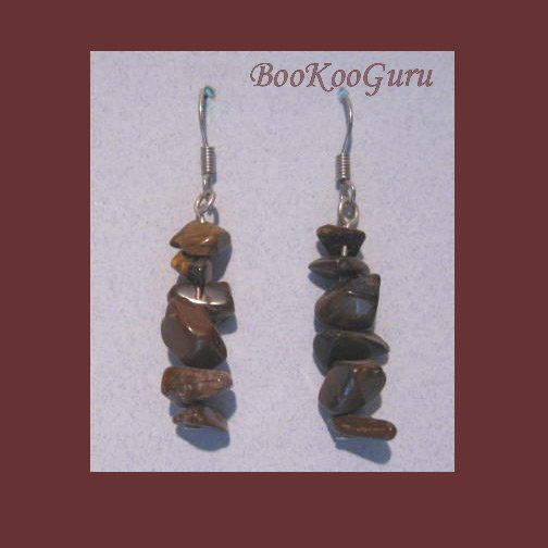 Genuine Tiger-Eye Chip Dangle Earrings, Genuine Gemstones, Artisan Crafted