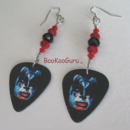 KISS Gene Simmons Guitar Pick Earrings, Genuine KISS, Artisan Designed, Hand-crafted