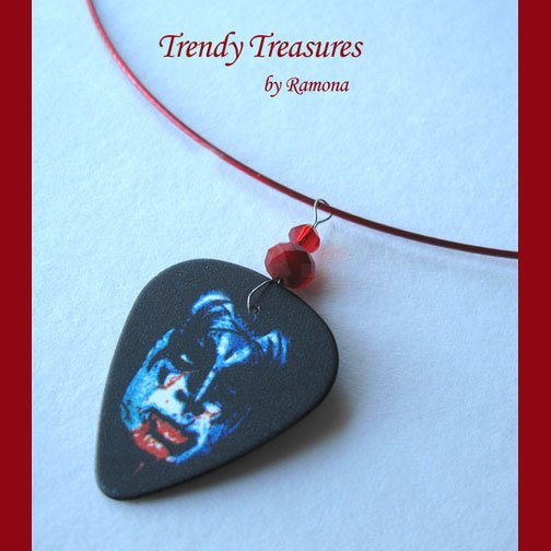 KISS Gene Simmons Guitar Pick Necklace, Original Design, Texas Artisan Crafted