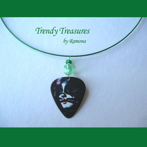 KISS Peter Criss Guitar Pick Necklace, Original Design, Texas Artisan Crafted