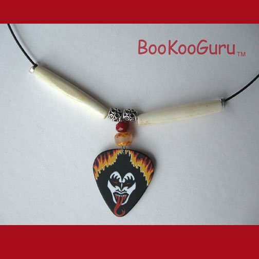 KISS Gene Simmons Guitar Pick Necklace,Rock n Roll Over,Artisan Crafted in Texas