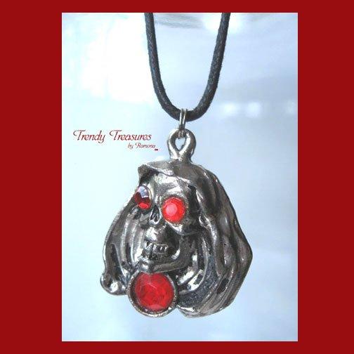 Skull Pendant, Cord Necklace, Silver, Red, Black, #TrendyTreasuresByRamona