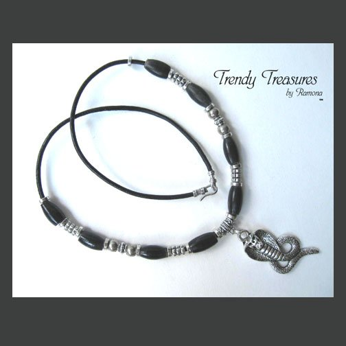 Cobra Snake Pendant, Cord Necklace, Silver, Black, #TrendyTreasuresByRamona,