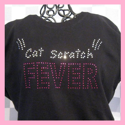 Bling Rhinestone Embellished T-shirt, Black, Cat Scratch Fever Design,Ted Nugent