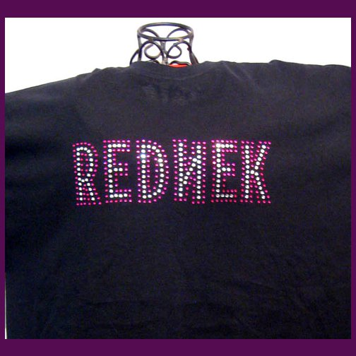 RednekRockers Bling Rhinestone Embellished T-shirt, Black, REDNEK, Jeff Foxworthy,Rebel Flag