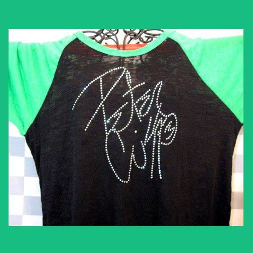 Peter Criss Autograph Signature KISS! Bling Rhinestone Embellished T-shirt, Free Shipping